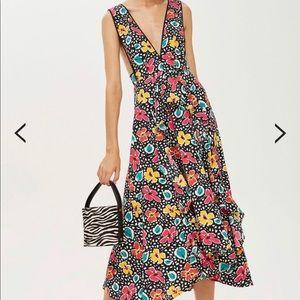 Topshop Petite Floral Pinafore Dress Size 6